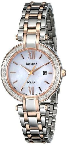 Seiko SUT184 Women's Solar Watch With 20 Diamonds Accented Bezel And Rose/Silver Stainless Steel Band