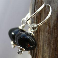 Black onyx and silver hoop earrings