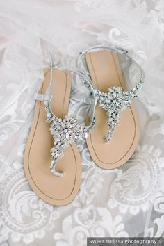 Wedding shoes ideas - rhinestones, glam, sandals, classic, elegant, open toe {Sweet Melissa Photography}