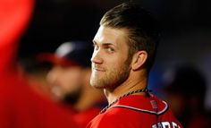 Bryce is calm in the dugout before he is up to bat
