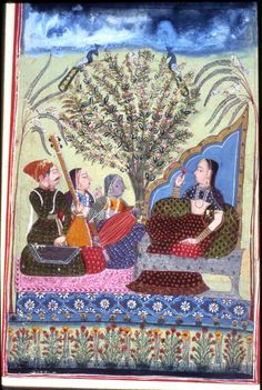 An illustration from a dispersed Ragamala series. A woman is seated, leaning against a bolster with three musicians, beside a bird-filled tree. Gouache painting on paper,     Rajasthan School, 1772