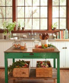 Vintage Green Table as farm kitchen island Farm Kitchen Ideas, Country Farm Kitchen, New Kitchen, Vintage Kitchen, Kitchen Decor, Green Kitchen, Country Kitchens, Rustic Kitchen, Vintage Table