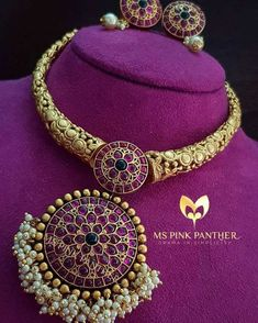 Looking for latest ruby necklace designs? Here are our picks of 20 designs and where you can shop them on line! Ruby Necklace Designs, Gold Jewellery Design, Gold Jewelry, Designer Jewelry, Designer Earrings, Vintage Jewelry, Antique Necklace, Gold Necklace, Simple Necklace