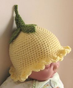 Crochet Pattern for Flower Fairy Primrose Hat. Aww I need a little flower fairy to put this on. Bonnet Crochet, Crochet Baby Hats, Cute Crochet, Crochet For Kids, Crochet Crafts, Baby Knitting, Crochet Projects, Knit Crochet, Booties Crochet