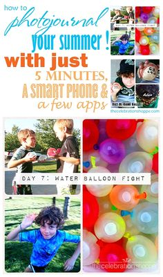 How to Photojournal you and your kids Summer!  All you need are 5 minutes, a Smartphone and a few apps! | @kimbyers TheCelebrationShoppe.com