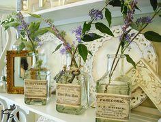 DIY:  Printable labels & craft store bottles = a vintage display.  Easy tutorial.