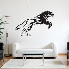 Style and Apply Flaming Wolf Wall Decal
