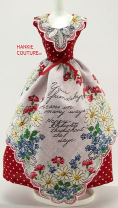 ♡♡♡ Friendship ♡♡♡ vintage-hankie makes an apron over red hearts on this dress by Hankie Couture!