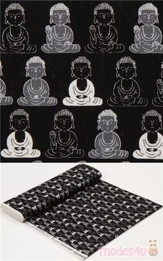black dobby fabric with Buddha pattern, Material: cotton, Fabric Type: strong dobby fabric, Pattern Repeat: ca. Buddha, Dobby Fabric, Kawaii, Modes4u, Japanese Fabric, Cosmos, Repeat, Cotton Fabric