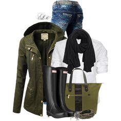 Olive & Black, created by tmlstyle on Polyvore