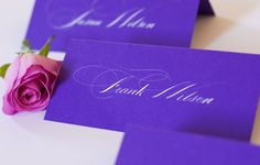 Spencerian calligraphy  white ink on color place card