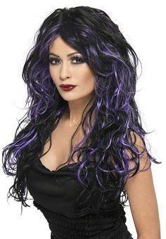 Evil has never looked as elegant as it does on our Gothic Bride Black with Purple Wig. The vivacious head full of long, curly hair will enhance a variety of costumes. Our Gothic Bride Wig features black synthetic hair with purple streaks in a long length style with center parting and loose curls. The streaks of purple highlights on the black curly hair work in perfect contrast with each other to provide an eerie yet glamorous look. Our Black & Purple Streaked Gothic Bride Wig is an ideal ...