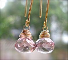Pink Quartz Dangle Earrings Handmade
