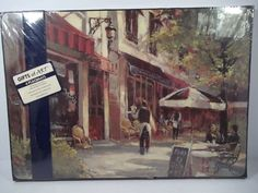 "Set Of 4 ""CHOCOLATIER"" Cork-back Placemats - Outside Cafe & Chocolate Shop! NEW! #ArtinMotion"