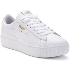 PUMA Vikky Platform Women's Leather Shoes (€59) ❤ liked on Polyvore featuring shoes, sneakers, white, white lace up shoes, platform lace up shoes, leather lace up shoes, white leather shoes and high platform shoes