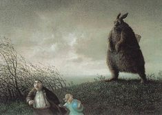 """""""Frohe Ostern"""" by Michael Sowa, perhaps the most frightening Easter postcard of all time."""