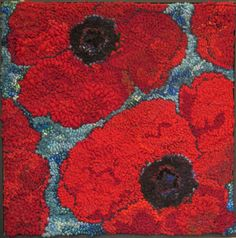 Port Greville Poppies rug hooking kit 20 x20 by DeanneFitzStudio