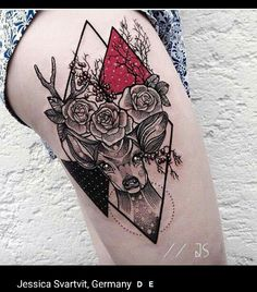 Dotwork geometric deer tattoo