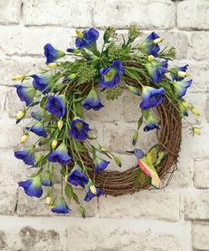 Morning Glory Wreath, Hummingbird Spring Wreath, Summer Wreath Door, Front Door Wreath, Silk Floral Wreath, Grapevine Wreath, Outdoor Wreath, Wreath on Etsy, by Adorabella Wreaths!