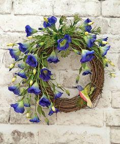 Hummingbird Summer Wreath for Door, Front Door Wreath, Summer Door Wreath, Spring Wreath, Silk Floral Wreath,Outdoor Wreath,Grapevine Wreath