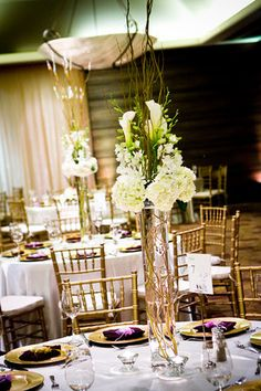 Flowers, Reception, White, Green, Centerpiece, Brown, Orchids, Hydrangea, Calla, Curly, Tall, Willow, Lilly, Modern la weddings
