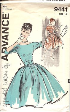 Advance 9441 Pattern 1960's Misses' Dress ID505