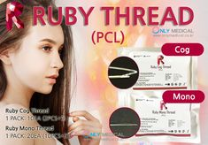 Korean PCL Thread Lifting ◈ RUBY Thread (PCL) ◈ ▶ Type : Ruby Cog Thread(PCL) / Ruby Mono Thread(PCL) ★☆ Effect : Face lift & Wrinkles removal Thread Lift, Cogs, Wrinkle Remover, How To Remove, Korean, Medical, Type, Korean Language, Medicine