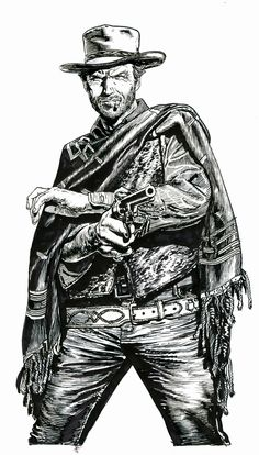 Clint Eastwood detail from 'The Good, The Bad & The Ugly' screenprint by Chris Weston