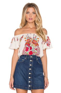 Spell & The Gypsy Collective Hotel Paradiso Off Shoulder Crop Top in Pearl