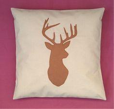 Cream Tan Stag Deer Head Unique Cushion Pillow Cover Felt Reindeer Design…