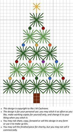 ChartChristmasTreeMagnet.jpg (440×792), free needlepoint project