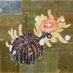"Image: artist Alexandra Gjurasic  Black Cactus, 24""x24"", mixed media painting including beeswax and glitter on gold paper mounted on wood, 2010 www.alexandragjurasic.com"