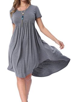 Casual Dresses - levaca Women's Scoop Neck Pockets High Low Pleated Loose Swing Casual Midi Dress at Women's Clothing store: Plus Size Maxi Dresses, Short Sleeve Dresses, Dresses With Sleeves, Short Casual Dresses, Very Short Dress, Cosplay Dress, Cap Dress, Mode Hijab, Swing Dress