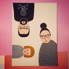 "Polubienia: 76, komentarze: 3 – agata pietrusz (@agata_pietrusz) na Instagramie: ""My little #family #portrait #upsidedown #3ofus #acrylic #painting #illustration just testing…"""