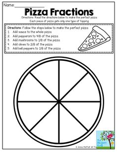 So many FUN and hands-on ways to work with fractions! *Students could also make their own pizza using the fractions provided and then write up the recipe. 3rd Grade Fractions, Teaching Fractions, Fractions Worksheets, Fourth Grade Math, 3rd Grade Classroom, Second Grade Math, Math Fractions, Math Classroom, Equivalent Fractions