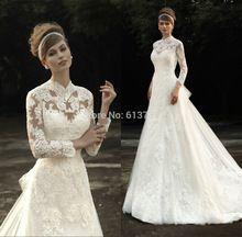 Nova princesa Applique Lace alta Neck a linha manga comprida vestidos de casamento 2015 vestidos de Noiva Vestido de Noiva com destacável Train(China (Mainland))