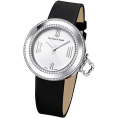 Van Cleef & Arpels White Gold Charms Watch with Diamonds (90,375 SAR) ❤ liked on Polyvore featuring jewelry, watches, charm watches, quartz movement watches, diamond watches, white gold diamond watches and dial watches
