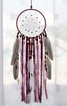 Vinous Dream catcher Crochet Doily by MagicalSweetDreams on Etsy