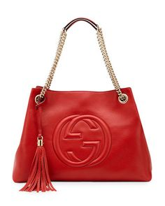 Soho+Leather+Medium+Chain-Strap+Tote,+Red+by+Gucci+at+Neiman+Marcus.