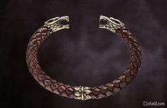 Leather Bracelet / Wolfs / Brown