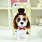 Goegtu Lovely Gentleman Cap Puppy Pattern Plastic Case For iPhone 5 5G