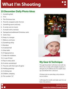 December Daily photo ideas! Watch for the 2014 list in late November!
