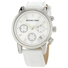 Michael Kors Women's MK5049 White Leather Round Chronograph Watch - designer shoes, handbags, jewelry, watches, and fashion accessories | endless.com