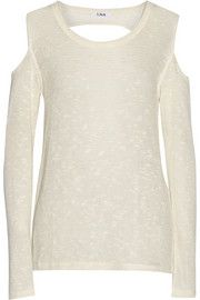 LNA Julian slub cutout stretch-knit sweater