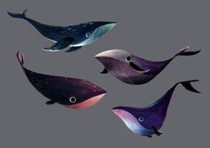 If I got a tattoo it would be like one of these!!   foxville:  Galactic whales… would be a really cool band name.