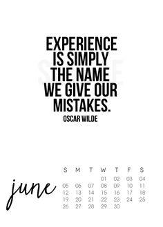 Printable June 2016 Calendar with inspirational quote by Oscar Wilde. livelaughrowe.com