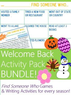 """Welcome students back from winter break and ALL breaks with this NO PREP welcome back activity pack bundle! These activities let students talk about their vacations in meaningful ways using """"Find Someone Who"""" games, Venn diagrams, & comparison/contrast writing tailored to each holiday or break! Includes activities for students coming back from Winter Break, Halloween, Thanksgiving, Spring Break, Easter, Summer Break, and any Weekend.  NO STRESS way return to the school routine."""