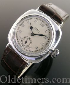 early silver cushion vintage Rolex Oyster watch, case is signed RWCLtd., Rolex, 20 World's Records, Glasgow Ultra Prima movement signed Rolex Popular Watches, Best Watches For Men, Cool Watches, Vintage Watches Women, Vintage Rolex, Armani Watches, Luxury Watches, Fossil Watches, Rolex Watches