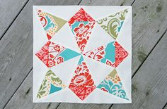 This star quilt block looks complicated, but paper piecing templates make it easy to get precise points in the center pieces. If you've never tried paper piecing before, this Whirling Star Quilt Block tutorial is the perfect introduction.