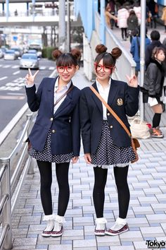 "School Girl - ""pair style"" with twin buns, matching school blazers, polka dot skirts and red glasses Japanese Streets, Japanese Street Fashion, Tokyo Fashion, Harajuku Fashion, Kawaii Fashion, Punk Fashion, Korean Fashion, Girl Fashion, Asian Street Style"